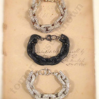 TU Chunky Link PAVE BLiNG Bracelet - Arm Candy - Gold Silver Black with GLaSS Rhinestones - Intro SaLE
