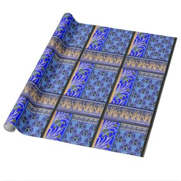 Art nouveau black and purple iris giftwrap wrapping paper