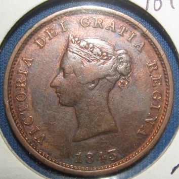 1843  New Brunswick Canada  Large Penny Canadian Copper  Cent Coin Bank Token