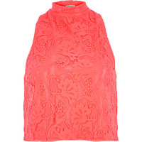 River Island Womens Coral lace high neck top
