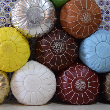 Moroccan round ottoman leather pouf, handmade poufs