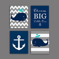 Nautical nursery Wall decor,  Whale nursery art print, Baby shower gift Gray Navy nautical Wall decor, 8x10 PRINTABLES, Dream big little