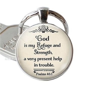 God Is My Refuge and Strengh Bible Quote Jewelry Keychain Pendant, Bible Pendant Bible Verse Key Chain Ring Keyring Gift