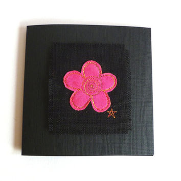 Pink flower card for her. Embroidered cerise pink flower birthday card, thank you card or note card. Blank for your own message.
