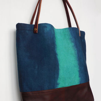 Emerald and Indigo Tote Bag - Linen and leather market bag, fully lined with interior pockets, leather straps and brass rivets
