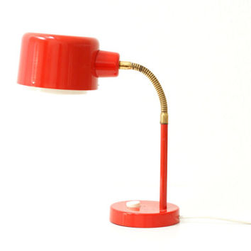 RED TABLE LAMP, 1960s Spot Lamp, Brass Adjustable Neck, European Desk Light, Happy Decor, Retro, Modern Desk Lamp, Perfect working order
