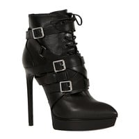 SAINT LAURENT BLACK LACE-UP LEATHER JANIS BOOTIES