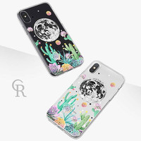 Moon Clear Phone Case Phone Case For iPhone 8 iPhone 8 Plus iPhone X Phone 7 Plus iPhone 6 iPhone 6S  iPhone SE Samsung S8 Succulent Cactus