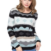 TopStyliShop Women's Stripes and Rhombus Pattern Round Neck Multicolor Sweater D1126