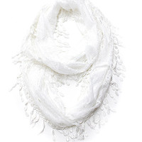 White Lace Infinity Scarf