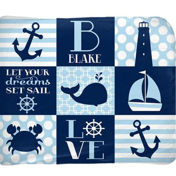 NAUTICAL Baby Blanket - Nautical Nursery Bedding - Personalized Blanket - Boy Name Blanket - Boy Shower Gift - Swaddle Blanket Pillow Set