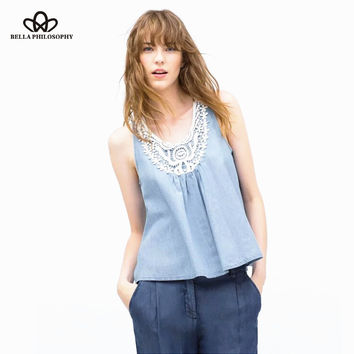 2015 summer Europe style crochet round neck sleeveless collar white lace detailed ladies denim tank top tee shirt