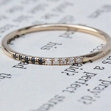 14K Half Black Half White Diamond band, Pave Diamond Ring, Stacking Ring, Wedding Band, Gold Ring, Thin Ring, Minimal Jewelry