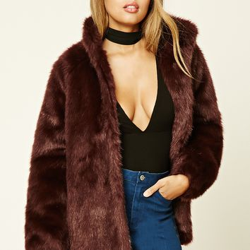 Faux Fur Mock Neck Jacket