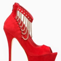 Liliana Peep Toe Chain Linked Red Ankle Strap Heels @ Cicihot Heel Shoes online store sales:Stiletto Heel Shoes,High Heel Pumps,Womens High Heel Shoes,Prom Shoes,Summer Shoes,Spring Shoes,Spool Heel,Prom Pumps,High Heel Sandals