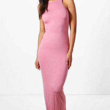Phoebe Racer Front Sleeveless Maxi Dress | Boohoo