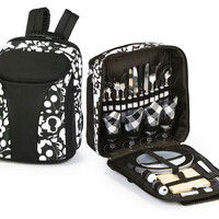 Picnic Backpack - Color: Black And White Floral