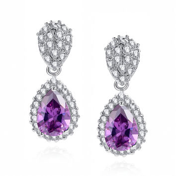 Purple Teardrop and Clear Round Cubic Zirconia Halo Earrings