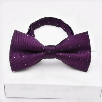 CityRaider Brand Designer Pajaritas New Men's Bowties Classic White Dot Print Mens Bow Tie Fashion Men Bowtie Solid Purple LD089