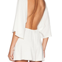 White V-neck Halter Angel Sleeve Backless Romper