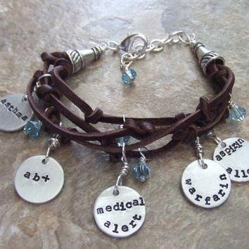 Medical Alert Bracelet - Leather and Birthstone  Bracelet - Custom Hand Stamped - Adjustable Bracelet