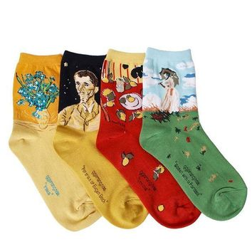 MDIG2JE OSABASA Womens Art Patterned Casual Crew Socks 1 or 4 or 5 Pack