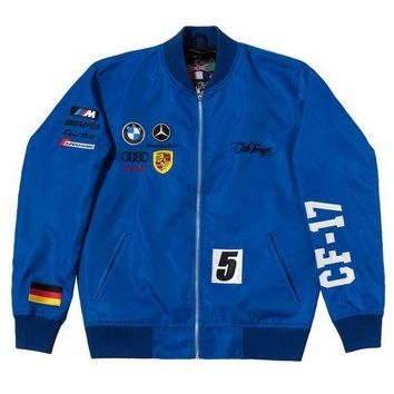 Club Foreign Germany Racing Jacket In Blue - Beauty Ticks