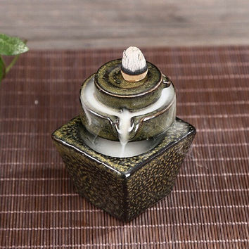 5Pc Backflow Incense Cones With 1Pc Ceramic Burner Bullet Incense Stickers Holder Stone Mill Ceramic Censer Home Decor N22 Green