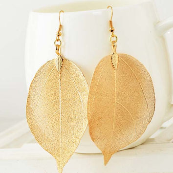 2016 New 18K Gold And Silver Plated Big Statement Long Drop Earrings Filigree Dipped Natural Real Leaf Earrings For Women