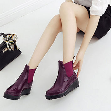 Rainshoes Women shoes Muffin shoes thick bottom water Ma beware of slippery female short tube elastic water winter rainshoes