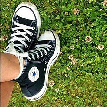 """""""Converse"""" High tops Black Fashion Canvas Flats Sneakers Sport Shoes"""