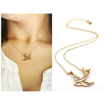 Swallow Bird Necklace - Dainty 14k Gold Filled Jewelry