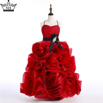 Baby Flower Girl Dresses Red Rose Flowers Organza Sexy Sleeveless Flower Girl Dress Plus Size Custom Made 2017 Real Picture