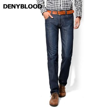 Denyblood Jeans Darked Wash Jeans Mens Blue Black Cotton Denim Straight Fit Classic Stylish Casual Pants Male Trousers 858