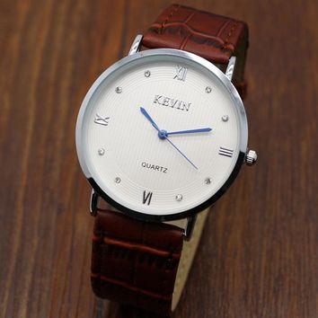 Reloj Hombre 2017 Simple KEVIN Brand Quartz Watches Men Genuine Leather Shark Mesh Clock Male Fashion Dress Watches Women Watch