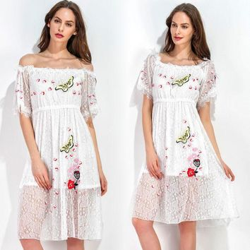 ac PEAPON Summer Women's Fashion Lace Embroidery Short Sleeve Shaped One Piece Dress [10363196108]