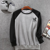 Winter Black NY Embroidered Color Stitching Long Sleeve Sweatershirt WithVelvet