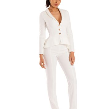 Nicole White High Waist Stretch Crepe Pants
