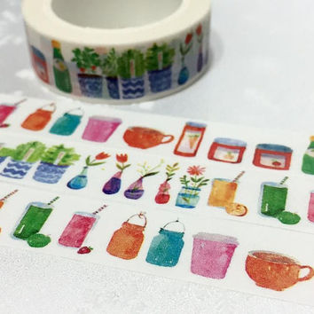 Colorful bottle washi tape 10M watercolor glass bottle beautiful potted bottle masking tape Assorted Color glasses vases sticker tape decor