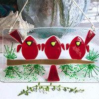 Cardinal Suncatcher - Birds on Branch - Memorial Art