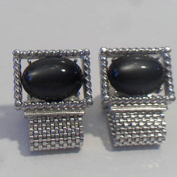 Vintage SWANK Silvertone Large Gray Cat's Eye Stone Mesh Wrap Cufflinks Suit Accessories