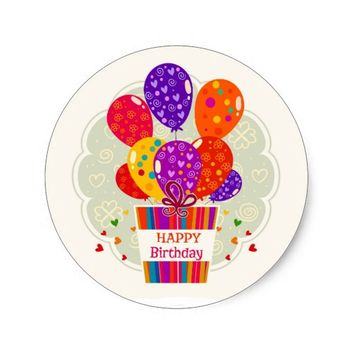 Happy Birthday Balloons Classic Round Sticker