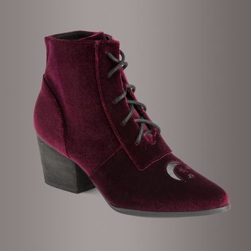 Y.R.U. Aura Witchy Burgundy Velvet Ankle Boot