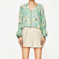 WISHBOP 2017 Summer Mint Green Floral Animal Printed Shirt Blouse V-neck With BOW Long sleeved Frills Cuffs Front Buttons up