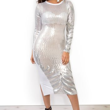 Beautiful Sheer Silver Sequin Long Sleeve Midi Dress
