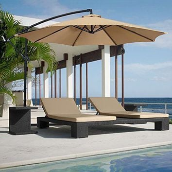 Patio Umbrella Offset Hanging Outdoor Beige Color Best Choice Products
