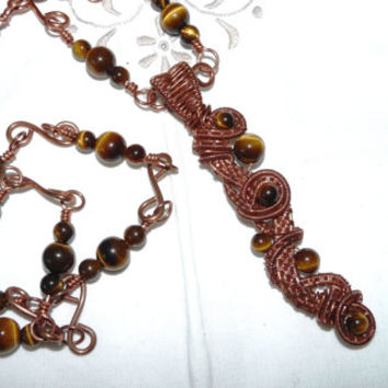 Long Tigers Eye and Bare Copper Wirework Necklace and Pendant, Woven Wire Work , Hand Crafted Chain, Upcycled Copper Wire, Hand Crafted