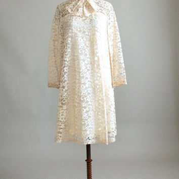Vintage 1960s MOD Lace A-Line Wedding Dress