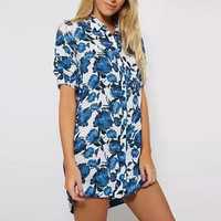 Blue Floral Shirt Collar Short Sleeve Blouse