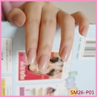 Shiny Fake Nails Clear Light Pink Plastic False Nail Finger Nails Tips Simple Nail Art Manicure Tools 24Pcs P01Q